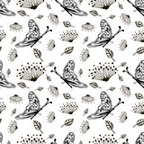 Seamless vector floral pattern with insect. Cute hand drawn black and white background with flowers and butterfly. Stock Photo