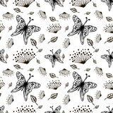 Seamless vector floral pattern with insect. Cute hand drawn black and white background with flowers and butterfly. Royalty Free Stock Image