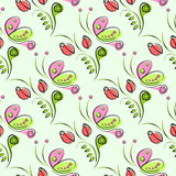 Seamless vector floral pattern with insect. Decorative ornamental background with butterflies, roses, leaves and decorative elemen. Ts. Series of Insects and Royalty Free Stock Photography
