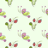 Seamless vector floral pattern with insect. Decorative ornamental background with butterflies, roses, leaves and decorative elemen Royalty Free Stock Images