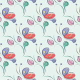 Seamless vector floral pattern with insect. Decorative ornamental background with butterflies, roses, leaves and decorative  Stock Photos