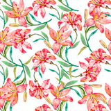 Seamless vector floral pattern. Lilies flowers. Fashionable and quality pattern. Watercolor handmade painting Stock Images