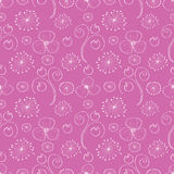 Seamless vector floral pattern. Pink hand drawn background with different flowers and leaves. Stock Illustration