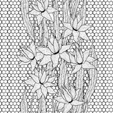 Seamless vector floral pattern. Royal lilies flowers with stylized doodle leaves on lattice lace. Black and white Stock Photos