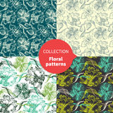 Seamless vector floral pattern set Stock Photography