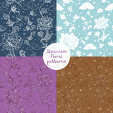 Seamless vector floral pattern set. 4 variants Stock Photo