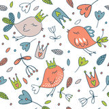 Seamless vector floral pattern. Spring illustration of cute bird Stock Photo