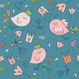 Seamless vector floral pattern. Spring illustration of cute bird Stock Photography
