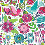 Seamless vector floral pattern, spring/summer backdrop. Bright colorful childish style animals and flowers. Romantic elements for Stock Photo