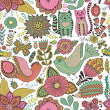 Seamless vector floral pattern, spring and summer backdrop. Bright colorful childish style animals and flowers. Romantic elements Stock Images