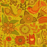 Seamless vector floral pattern, spring and summer backdrop. Bright colorful childish style animals and flowers. Romantic elements Royalty Free Stock Photos