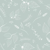 Seamless vector floral pattern, spring summer backdrop. Hand drawn surface pattern design with flowers Stock Photos