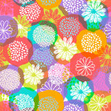 Seamless vector floral pattern with stylized doodle flowers on colorful background. Stock Photos