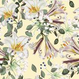 Seamless vector floral pattern. White royal lilies flowers, herbs and berries. Seamless vector floral pattern. White royal lilies flowers, herbs and berries on stock illustration