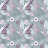 Seamless vector floral patterns. Delicate collection with leaves and flowers. The texture can be used for wallpapers, fill an image, web page, background Stock Image