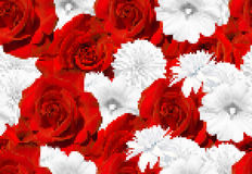Seamless vector flower mosaic. Red roses and white flowers. Rose, mallow, rudbeckia Royalty Free Stock Image