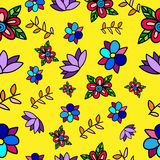 Seamless Vector flower pattern. On yellow background Royalty Free Stock Photography