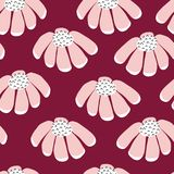 Seamless vector flowers repeating background. Scattered florals pattern. Flat pink simple doodle flowers on purple. Scandinavian royalty free illustration