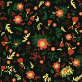 Seamless vector folk pattern with red flowers and yellow and green leaves. On dark background vector illustration