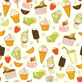 Seamless vector food background with sweets, ice-cream, cake and coffee Royalty Free Stock Photography