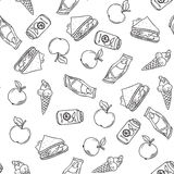 Seamless vector food pattern. Seamless vector pattern food background. Textured wallpaper design, creative decorative tile. Doodle style sketch, hand drawn Stock Images