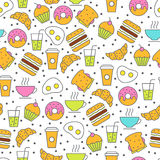 Seamless vector food pattern. Breakfast flat illustration of tea Stock Photography