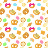 Seamless vector food pattern with pastries, sweets, pasta and dumplings Royalty Free Stock Image