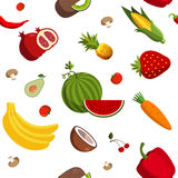 Seamless vector fruit and vegetable pattern Stock Images