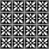 Seamless vector geometric pattern with flowers. Black and white background with decorative ornament . Stock Photo