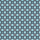 Seamless vector geometric pattern with flowers. Blue background with decorative ornament Stock Image