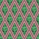 Seamless vector geometric pattern with ornamental elements,endless background with traditional folk motifs Royalty Free Stock Photos