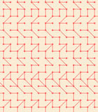 Seamless Vector Geometric Pattern. Simple contemporary red flat pattern with lines and dots royalty free illustration
