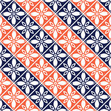 Seamless Vector Geometric Pattern With Flowers. Blue And Red Background With Decorative Ornament .