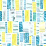 Rectangles seamless vector geometrical pattern. Blue and yellow hand drawn lines on a white background. Endless background with royalty free illustration