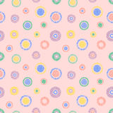 Seamless vector geometrical pattern with circles pastel endless background with hand drawn textured geometric figures. Graphic ill Stock Image