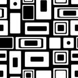 Seamless vector geometrical pattern. Endless black and white background with squares and rectangles Royalty Free Stock Image