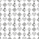 Seamless vector geometrical pattern with icons of playing cards. background with hand drawn textured geometric figures. Pastel Gra Royalty Free Stock Images