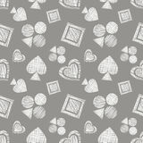 Seamless vector geometrical pattern with icons of playing cards. background with hand drawn textured geometric figures. Pastel Gra Royalty Free Stock Image