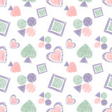 Seamless vector geometrical pattern with icons of playing cards. background with hand drawn textured geometric figures. Pastel Gra Stock Image