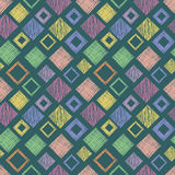 Seamless vector geometrical pattern with rhombus, squares. endless background with hand drawn textured geometric figures. Pastel G Royalty Free Stock Photography