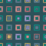 Seamless vector geometrical pattern with rhombus, squares. endless background with hand drawn textured geometric figures. Pastel G Stock Photo
