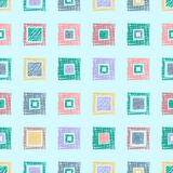 Seamless vector geometrical pattern with rhombus, squares. endless background with hand drawn textured geometric figures. Pastel G Royalty Free Stock Photos