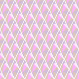 Seamless vector geometrical pattern. Symmetrical background with rhombus in pink color. Polygonal design. Stock Photo