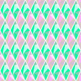 Seamless vector geometrical pattern. Symmetrical background with rhombus in pink and turquoise color. Polygonal design. Royalty Free Stock Photography