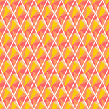 Seamless vector geometrical pattern. Symmetrical background with rhombus in red and yellow color. Polygonal design. Geometric triangular origami style, graphic Stock Photo