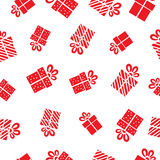 Seamless vector Gift pattern, red gift boxes on Stock Photo