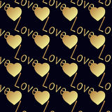 Seamless vector gold pattern with hearts. Vector illustration Stock Photography