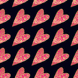 Seamless vector gold pattern with hearts. Vector illustration Stock Photos