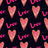 Seamless vector gold pattern with hearts. Vector illustration Royalty Free Stock Image