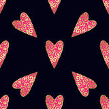 Seamless vector gold pattern with hearts. Vector illustration Royalty Free Stock Photography